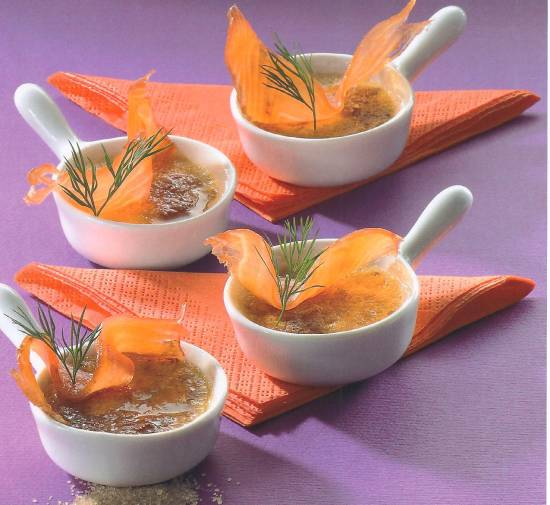 Crème bruûlées met zalm recept