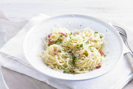 Superromige spaghetti carbonara