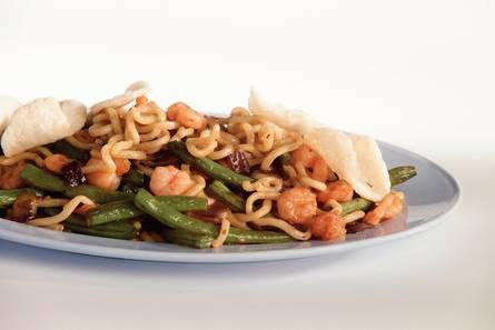 Noodles met garnalen