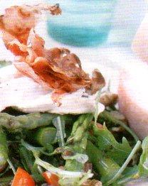 Salade van groene asperges met rauwe ham recept