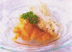 Amuse van kalkoenfilet met mango-portsaus recept
