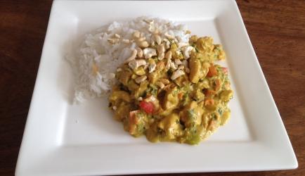 Snelle kip kerrie met rijst recept