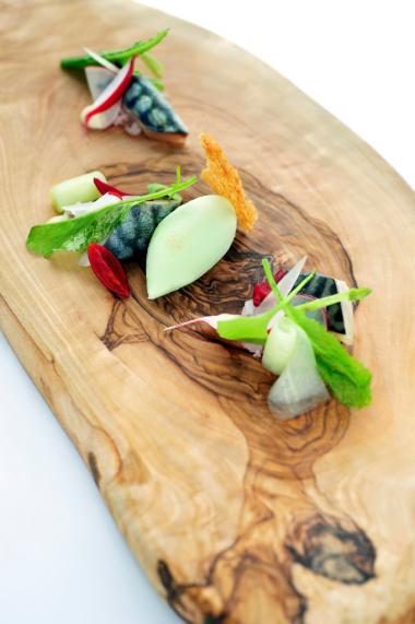 Recept 'gemarineerde makreel met postelein en raapsteel'