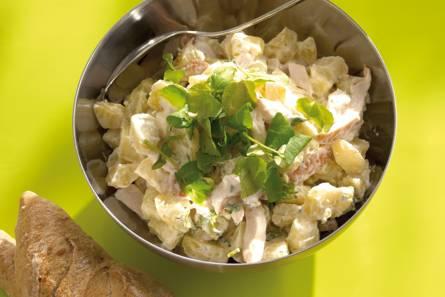 Aardappelsalade met gerookte kip