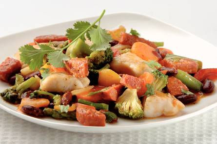 Vis-chili met kidneybonen en chorizo