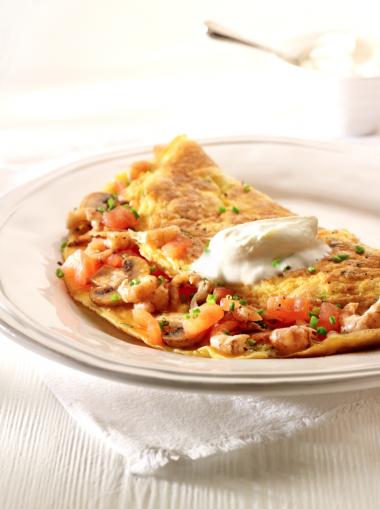Recept 'omelet garnaal met tomaten en champignons'