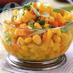 Kleurrrijke relish van maïs en paprika recept