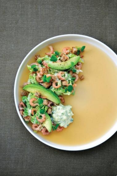 Recept 'salade met noordzeegarnalen en currymayonaise'
