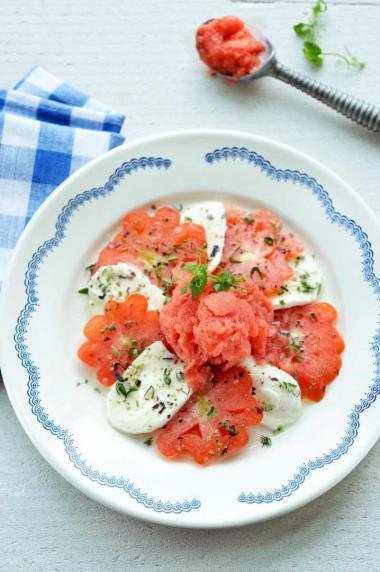 Recept 'carpaccio van coeur de boeuf tomaten met mozzarella en ...