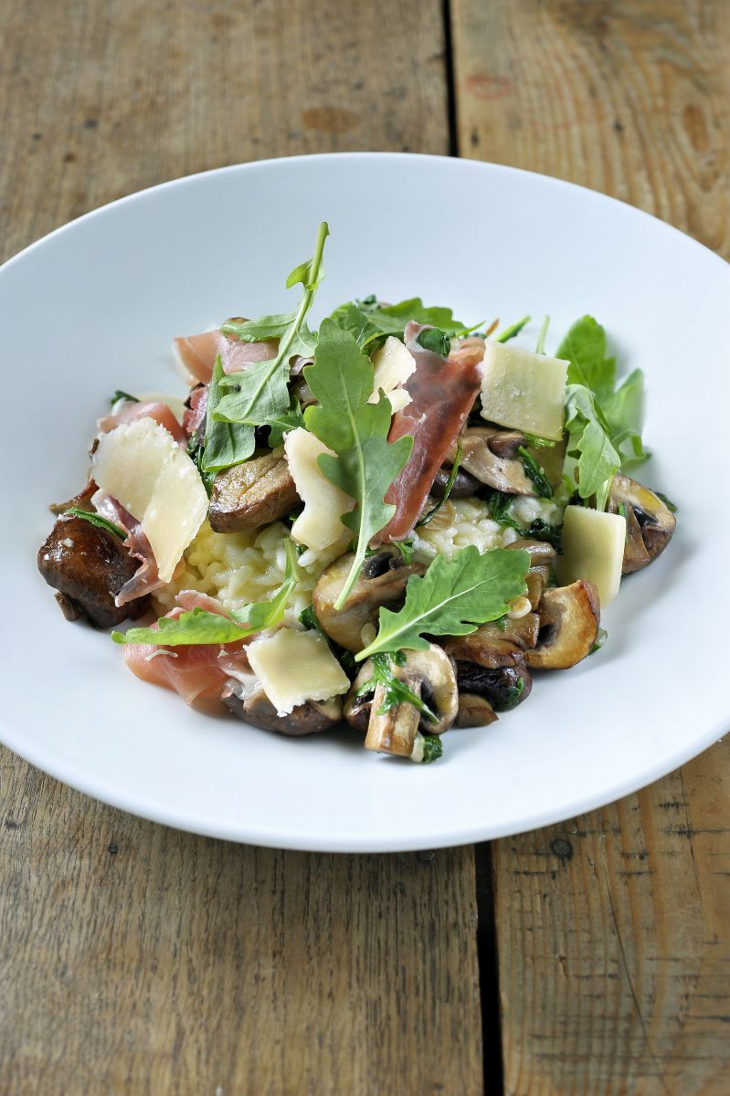 Recept 'risotto met bospaddenstoelen en rucola'