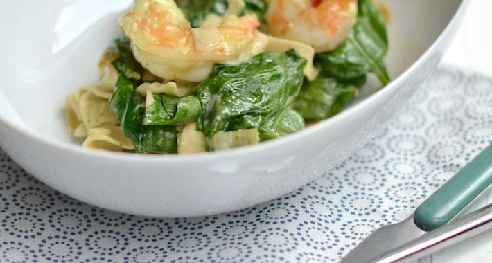 garnalen met spinazie