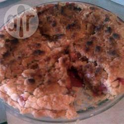 Kruimeltaart met aardbei en rabarber recept