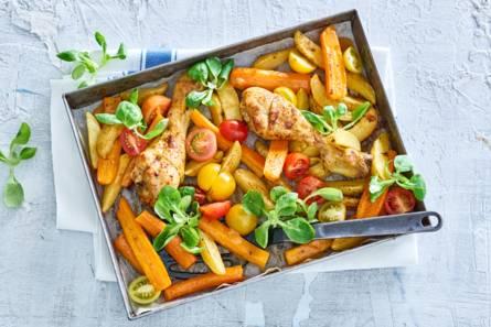 Piri-piri drumsticks met wortel en aardappel