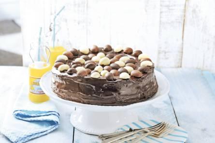 Chocoladetaart met ganache en paaseitjes