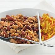 Bruine bonen met rijst en kip recept