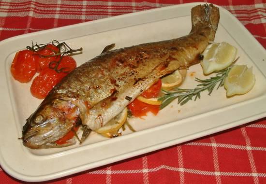Forel uit oven met italiaanse groene kruiden recept