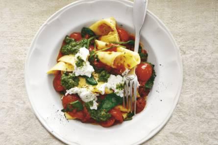 Lasagnette met tomaat, spinazie & ricotta