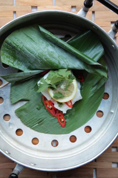 Recept 'pikante vis in banaanblad'