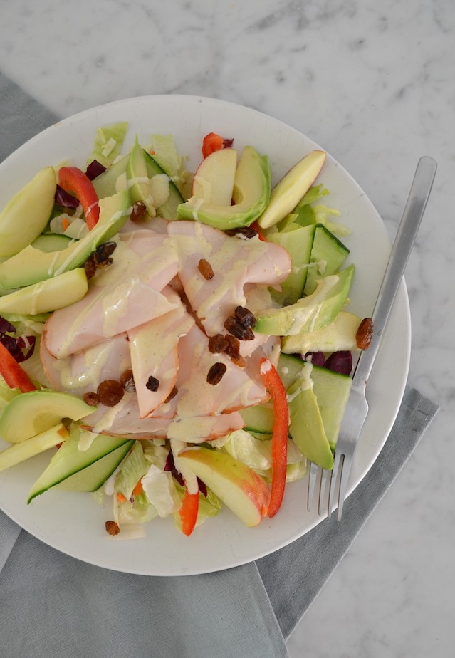 Salade met gerookte kip en appel