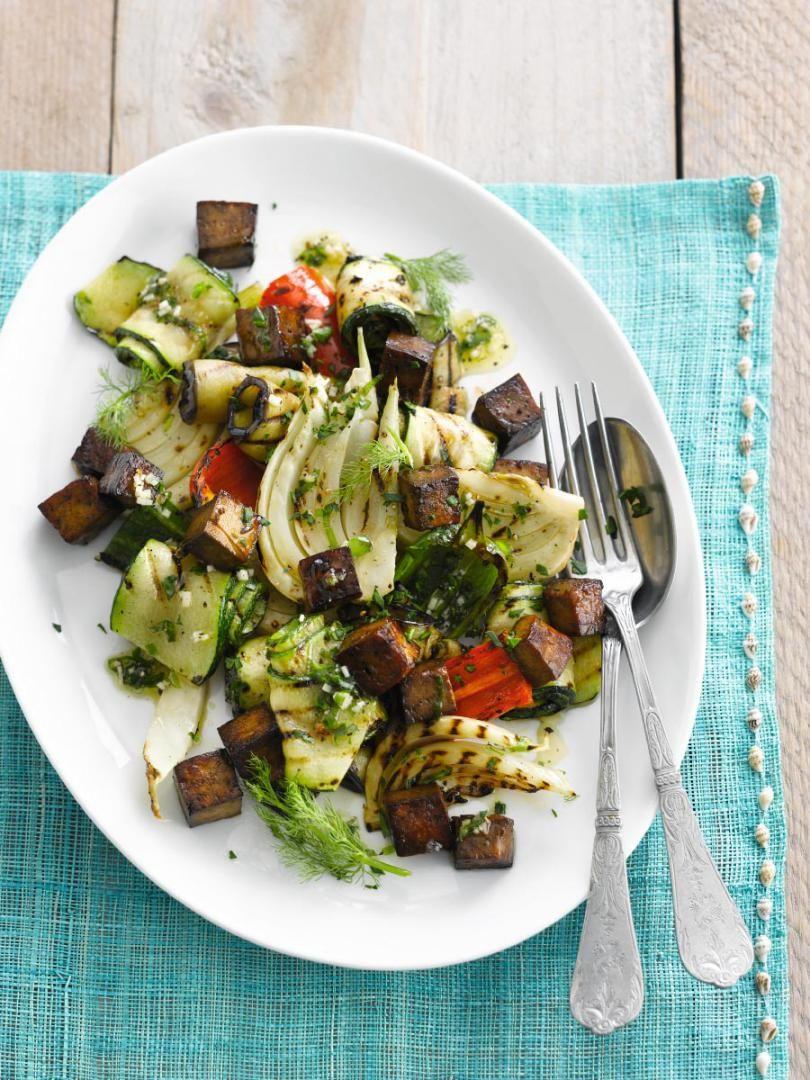 Recept 'geroosterde groentensalade met tofu in soja'