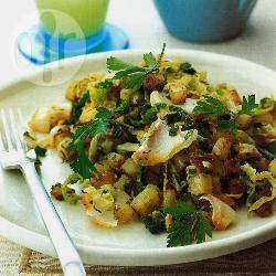 Aardappel-schelvisschotel recept