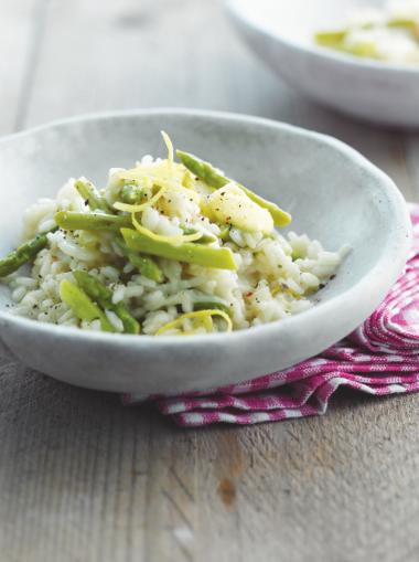 Recept 'citroenrisotto met venkel en groene asperges'