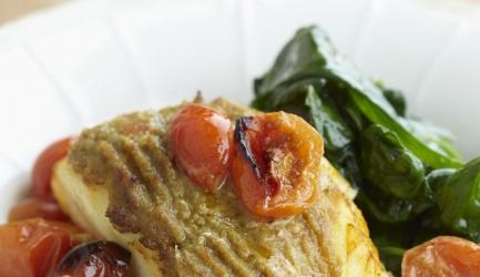 Kabeljauw haasje, groene curry, cherry tomaatjes
