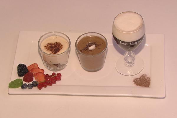Chocomousse, tiramisu en irish coffee