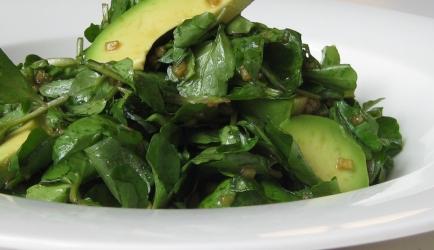 Perzische waterkers salade met avocado recept