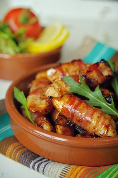 Recept 'baconrolletjes met zoete kip'