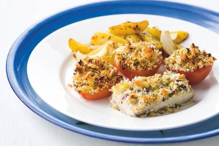 Vis en tomaten met kruidenkorst
