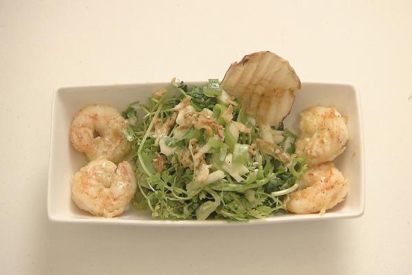 Salade scampi-appel-curry