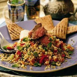Lamstabbouleh met verse kruiden recept