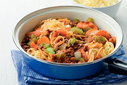 Spaghettini met vegetarische gehaktsaus