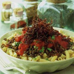 Egyptische linzen met macaroni recept