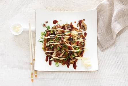 Okonomiyaki met paddenstoelen