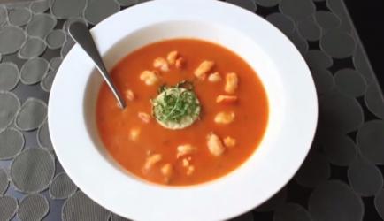 Pittige tomaten garnalen creme soep recept
