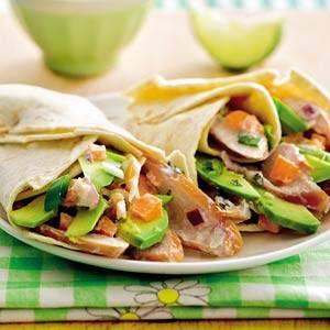 Wraps met gerookte kip en avocado recept