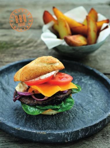 Recept 'veggie-hamburger met portobello paddenstoelen en pittige ...