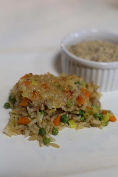 Recept 'vegetarische rijstschotel met kikkererwtenspread'