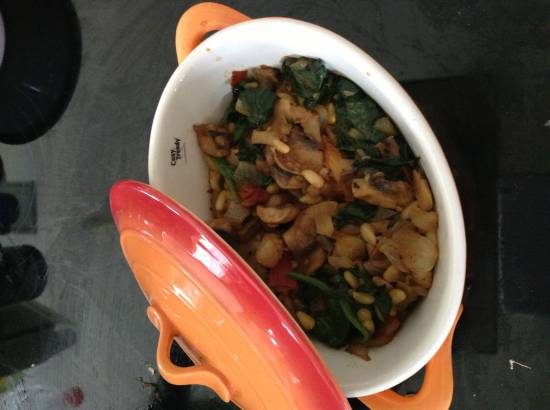 Ovenschotel met champignons en spinazie recept