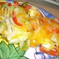 Kip met geroosterde rode paprika en mozzarella recept