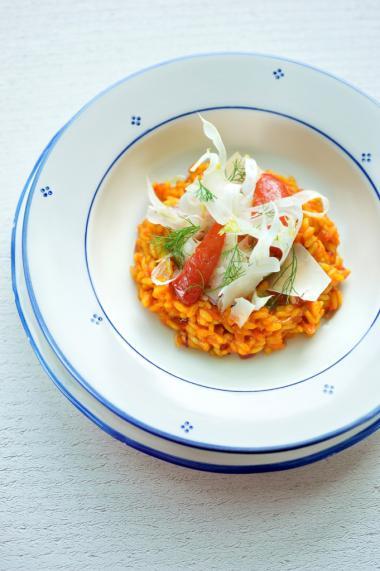 Recept 'tomatenrisotto met venkel en saffraan'