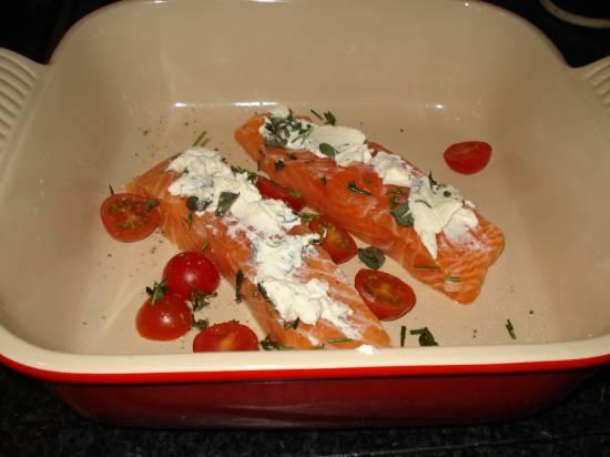 Zalm met roomkaas en italiaanse kruiden recept