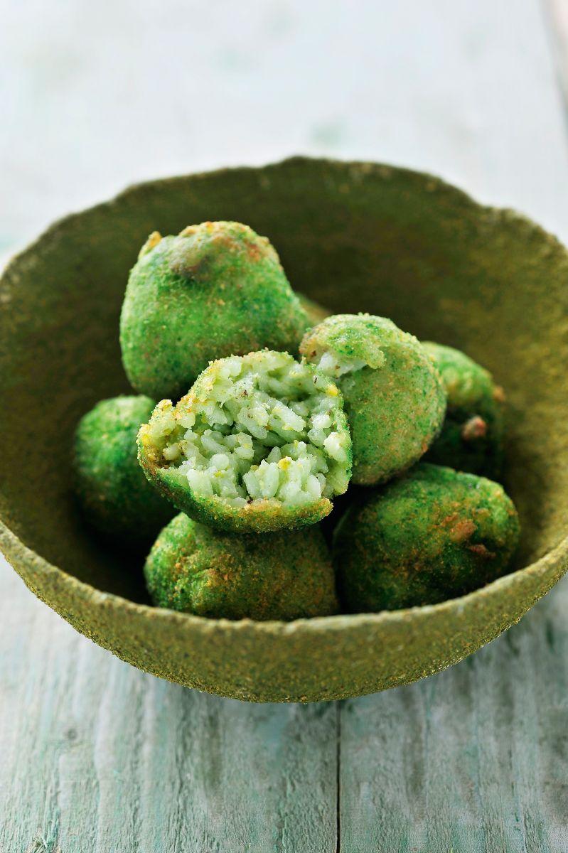 Recept 'rijstballetjes met pistache en scampi's'