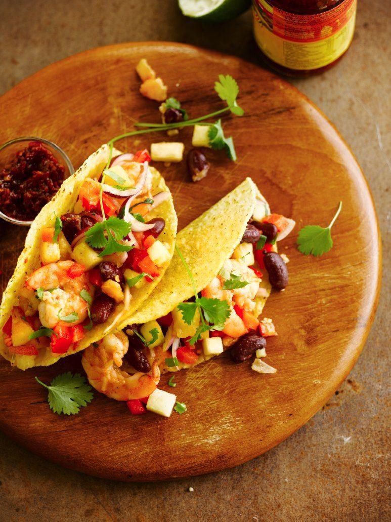 Recept 'taco's met gebakken tequila-garnalen'