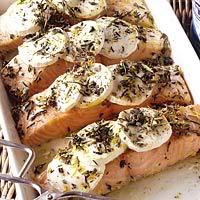 Zalmfilet met geitenkaas uit de oven recept