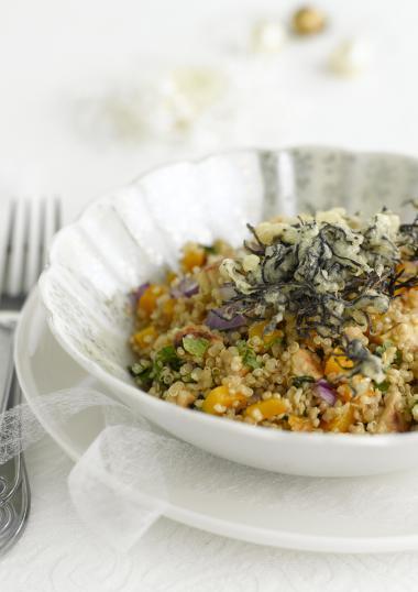 Recept 'quinoa salade met tempura van zeewier'