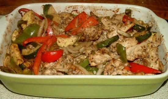 Kipfilet met paprika en courgette uit oven recept