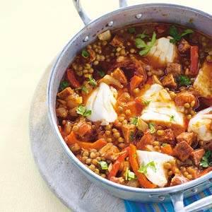 Spaanse vispan met linzen recept